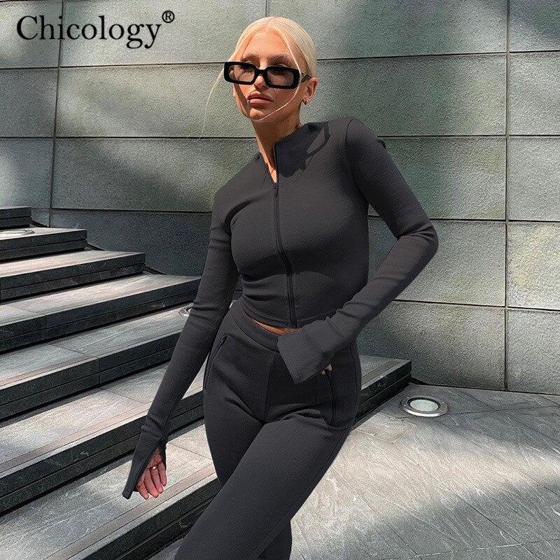 Chicology Lounge Tragen Zwei Stück Passenden Set Langarm Top Hosen Frauen 2020 Winter Herbst Kleidung Schweiß Trainingsanzug 2 Pc outfits