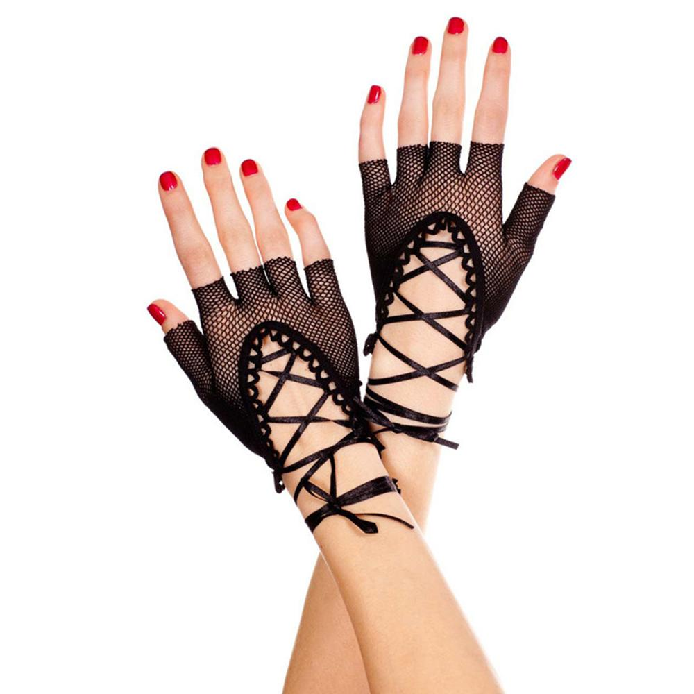 Womens Wrist Length Punk Prom Sexy Half Finger Gloves Solid Color Hollow Out Fishnet Criss Cross Lace Up Bandage Mittens