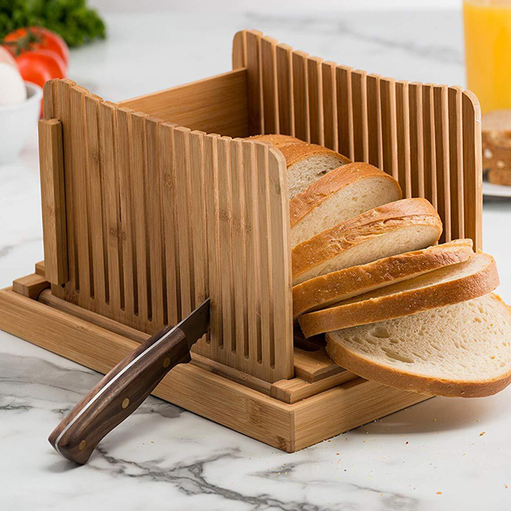 Bamboo Bread Slicer Foldable Board Sandwich Cakes Pastry Crumb Bread Slicing Guide Bun Cutting Home Kitchen Tool(China)