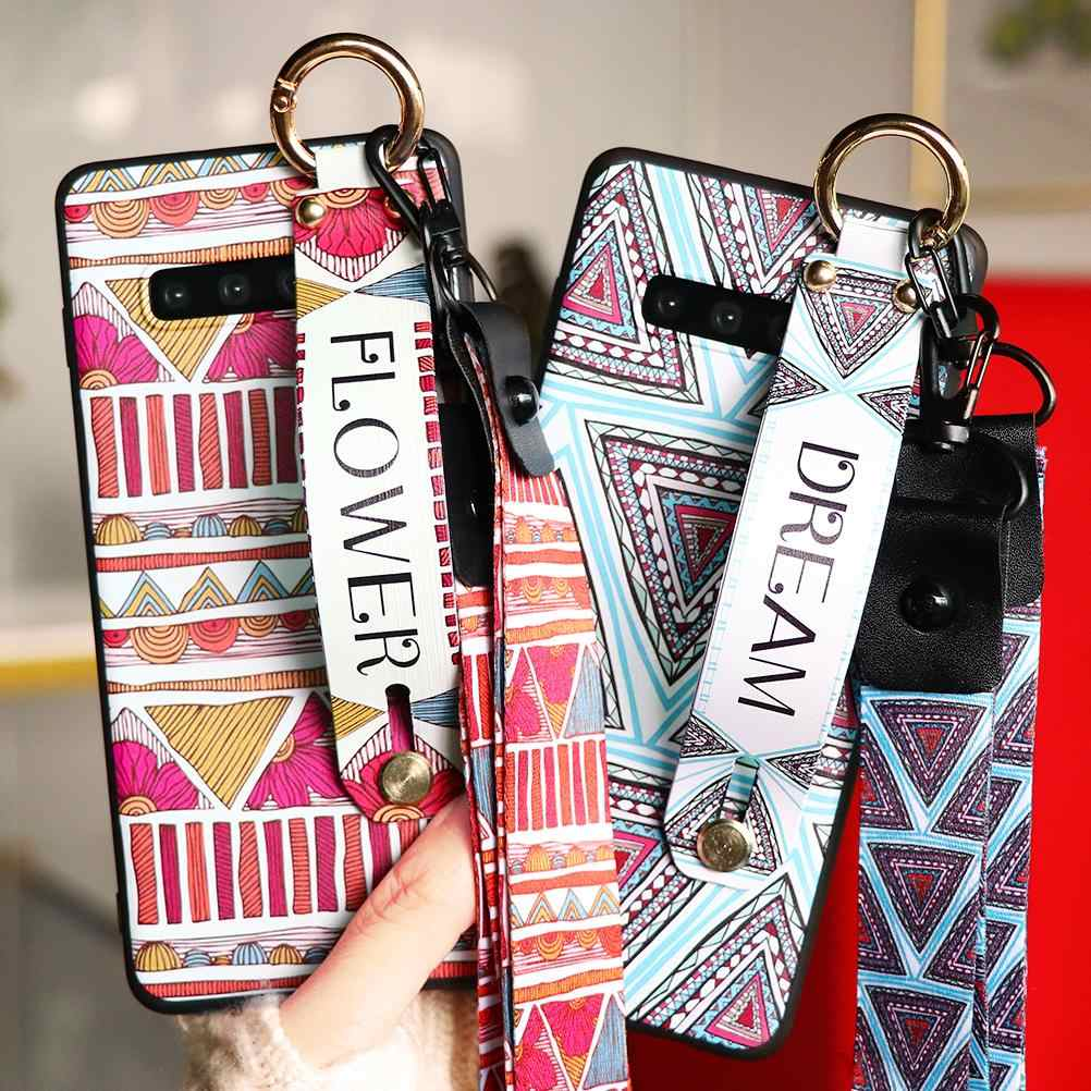Wrist Strap Case Voor Samsung Galaxy A50 A51 A71 A70 A40 A50S S20 S8 S10 S9 Plus Ultra A7 A9 a6 A8 Plus 2018 Tpu Case Tape Cover