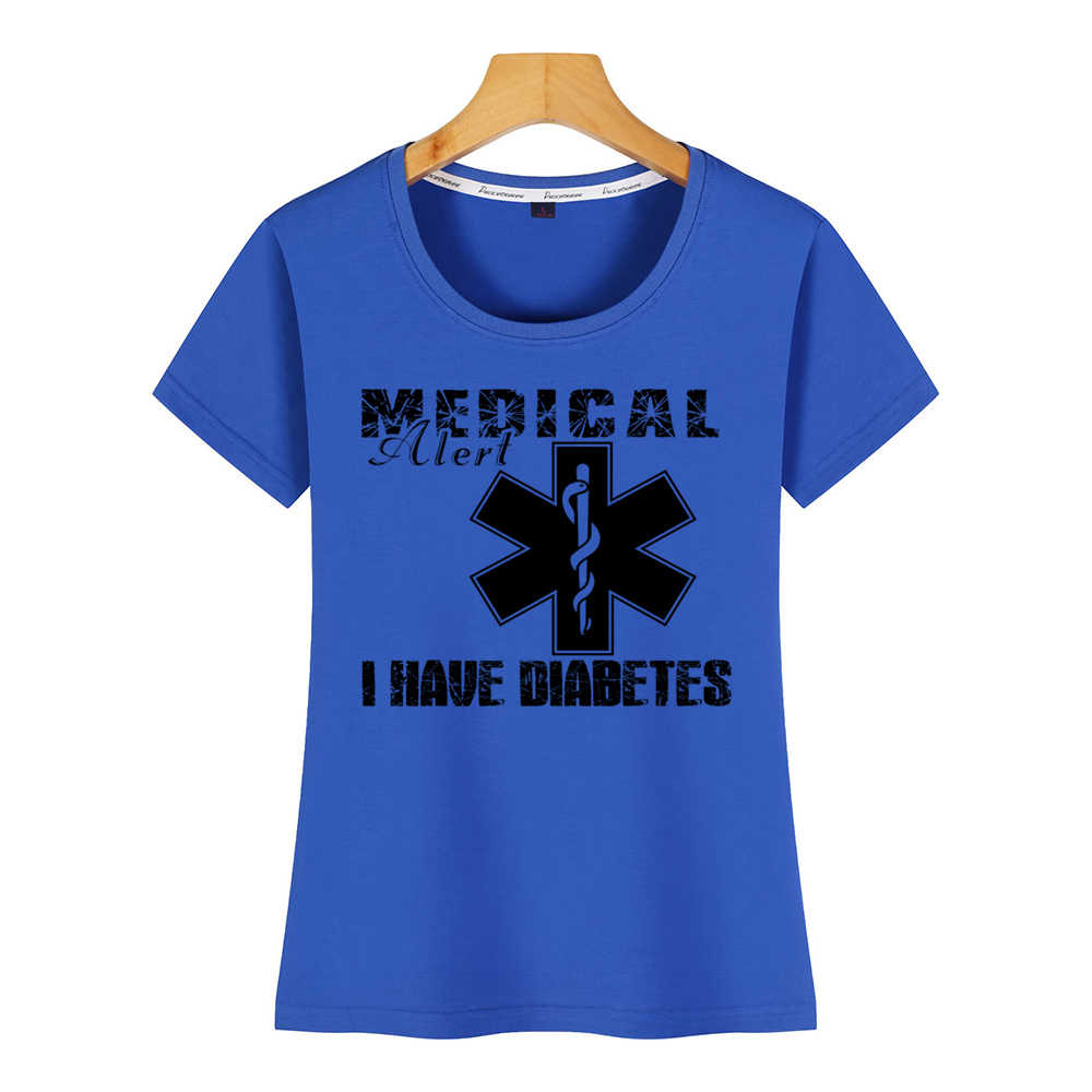トップス tシャツ女性糖尿病私は糖尿病夏原宿綿の女性の tシャツ