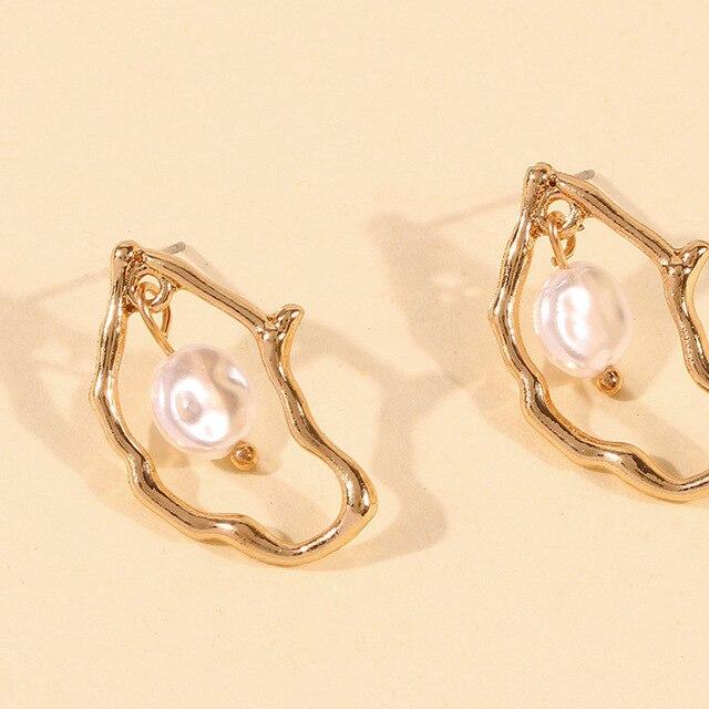 Gold Metal Geometric Baroque Irregular Imitation Pearl Earrings 5