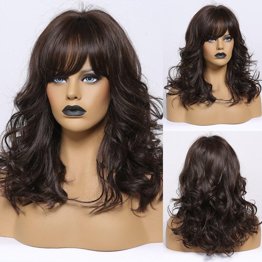 Jonrenau marrom escuro cor sintético ombro comprimento ondulado perucas todos os dias com ver através franja para branco/preto feminino festa wear