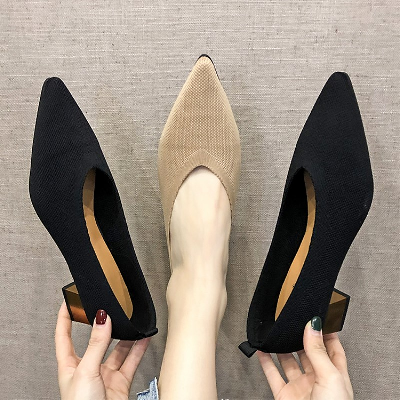2020 Spring Newest Pumps Shoes Women Fashion Sexy V Mouth Stretchy Fabric Heels Mid Heel Pointy Toe Slip On Office Shoes