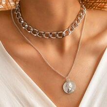 Ожерелье женское в стиле ретро толстая цепь с подвеской виде