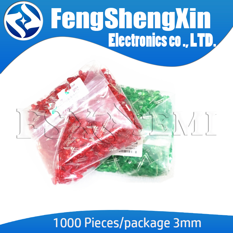 1000pcs/lot 3MM LED Red Green Yellow Blue White F3 Feet Long 17MM