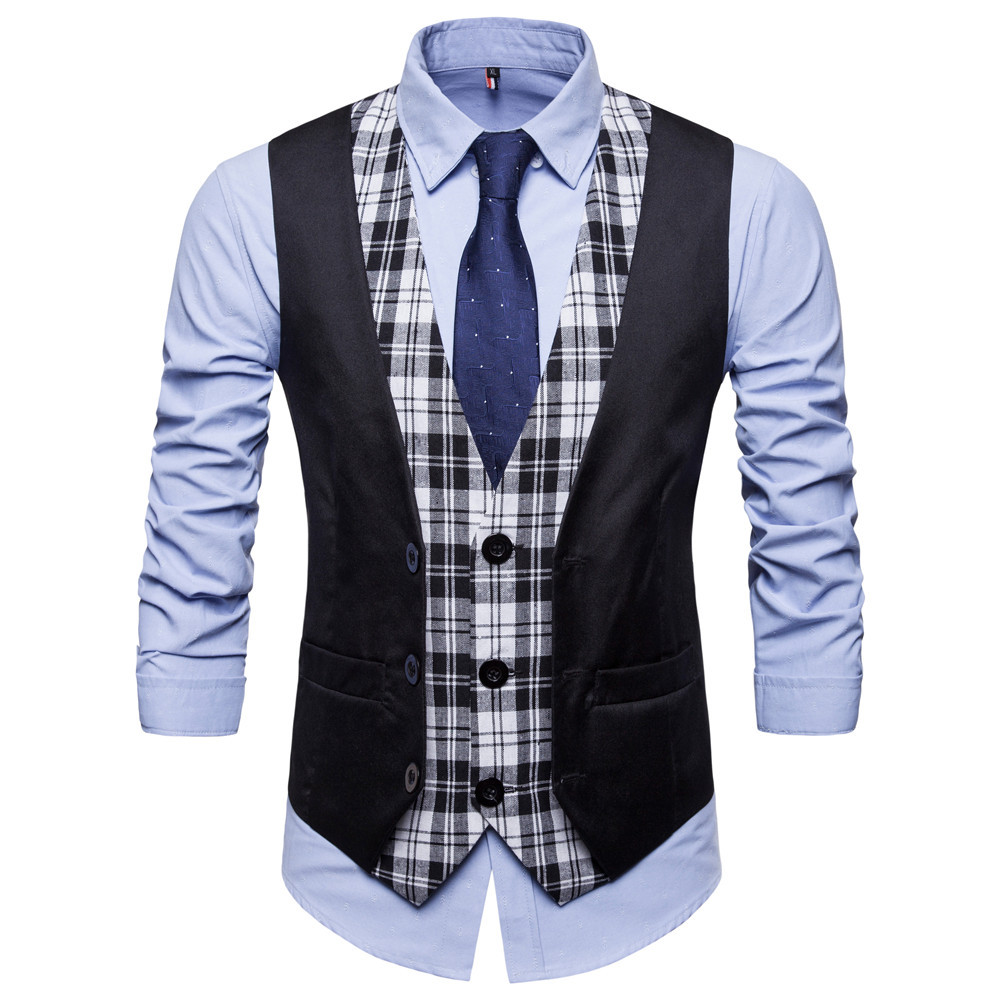 SWAGWHAT Mens Plaid Patchwork Blazer vests Single Breasted V neck Fashion Male England Casual Style Vests Men Suit Waistcoat