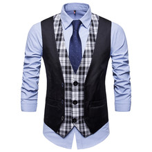 SWAGWHAT Mens Plaid Patchwork Blazer vests Single Breasted V-neck Fashion Male England Casual Style Vests Men Suit Waistcoat