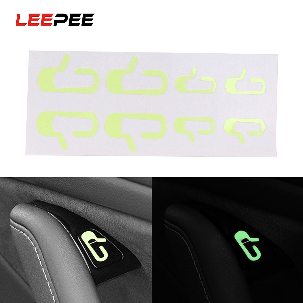LEEPEE 1 Set DIY Car Door Open Exit Sticker Decal Luminous Stickers Interior Accessories  Fit For Tesla Model 3