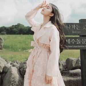 IRINAMS02 2019 FW Collection nouveautés organza sequin brodé vintage long trench coat femmes