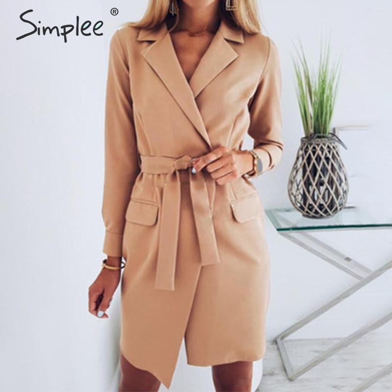 Simplee Elegant Sash Belt Women Blazer Coat Long Sleeve Pockets Slim Female Blazers V Neck Office Ladies Long Blazers Coats 2020