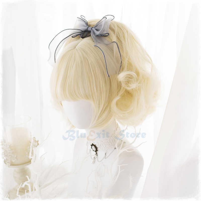 Harajuku Secara Bertahap Golden Lolita Wig Wanita Keriting Ekor Kuda Rambut Sintetis Rambut Pirang Pinggiran Poni Dewasa CHIC GADIS Cosplay Pakaian Sehari-hari