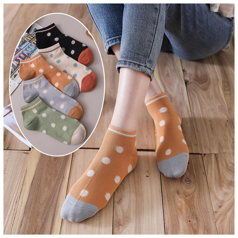 5 Pairs Dotted Pattern Women Ankle Socks New Trend Krean Breathable Summer Girls Casual Low Top Socks Novelty Cute Colorful