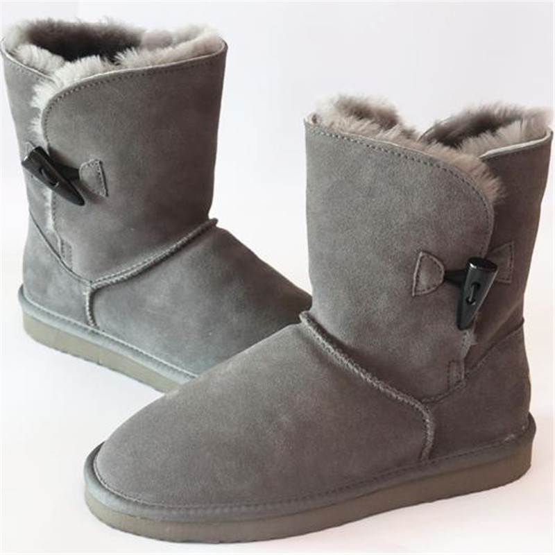 grwg Shoes Women 100% Genuine Cowhide Leather Snow Boots Natural Fur Botas Mujer Winter Real Wool Shoes For Women