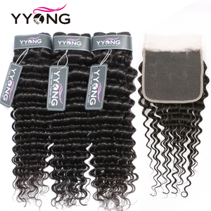 Yyong 3/4 Deep Wave Bundles With 5x5 /4x4 Lace Closure 8-26inch Peruvian Remy Human Hair Closure With Bundles Double Strong Weft