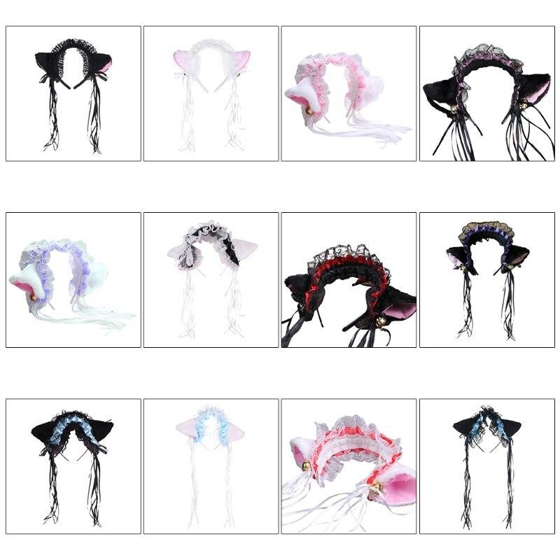 Женский кружевной ободок из искусственного шелка с оборками для девочек, милая плюшевая лента с кошачьими ушками и кисточками, украшение колокольчика, обруч для волос, Косплей Аниме Лолита|Аксессуары для костюмов|   | АлиЭкспресс