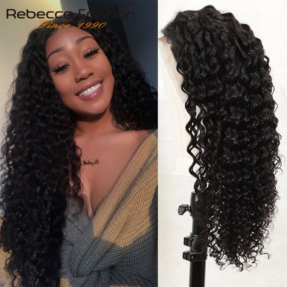 Rebecca 150% Deep Wave Lace Front Human Hair Wig With Baby Hair Brazilian Remy Human Hair Frontal Wigs For Black Women 8-28 Inch