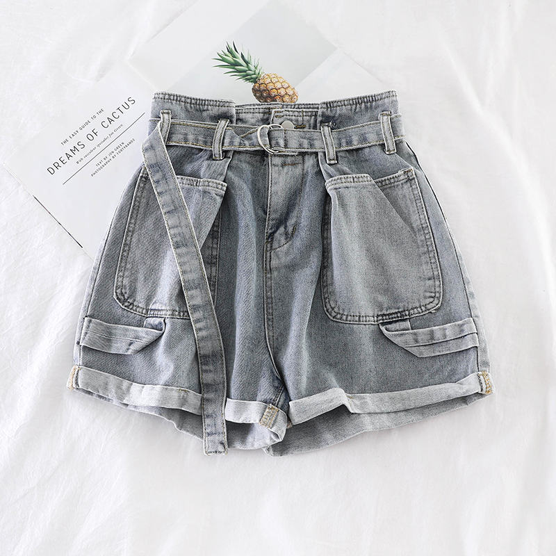 Heb7f8ce62e2c47348b3edfe630624631J - Retro Denim Shorts Women Spring Summer Wide Leg Shorts With Belt Casual Hotpants Pink White Jeans High Waist Women Shorts C6129