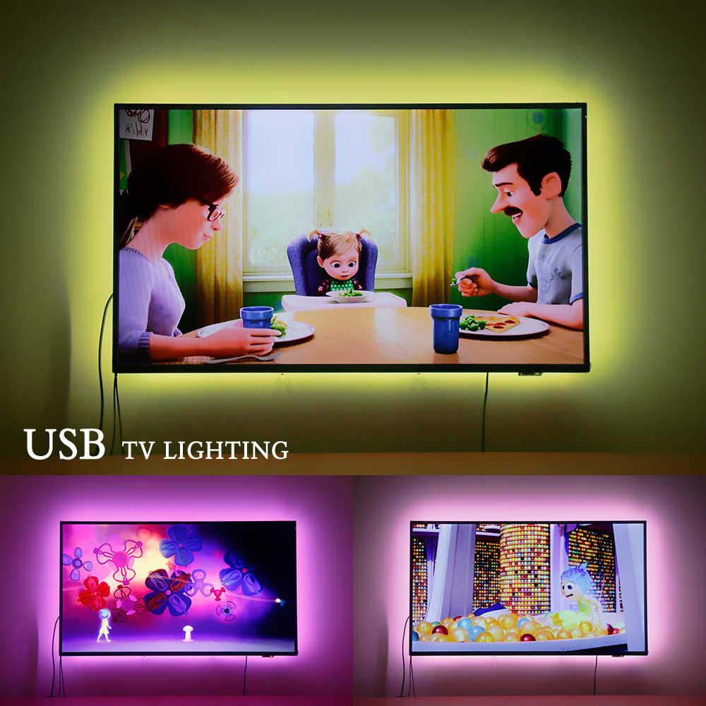 Tira de luz LED USB de 5050 RGB cambiante TV iluminación de fondo 50CM 1M 2M 3M DIY Flexible tienda LED retroiluminación Bluetooth controlador DC 5V