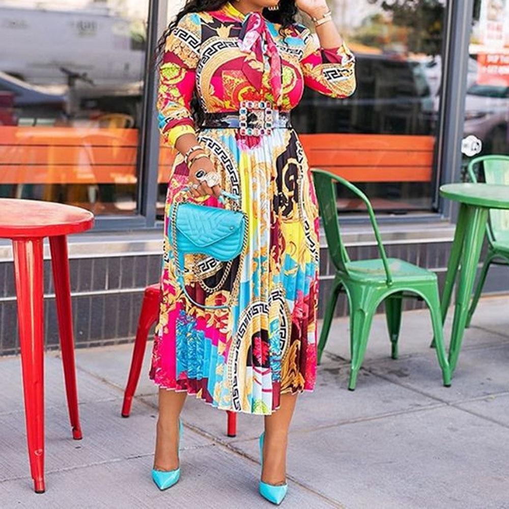 Fall Autumn Lapel Mid-Calf High Waist Pleated Dress Big Plus Size Geometric Printed Elegant Office Ladies Turn-down Collar 2019