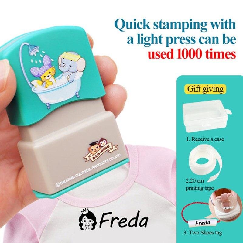 Personnalisé bébé nom timbre bricolage pour enfants nom sceau étudiant vêtements chapitre pas facile à décolorer sécurité nom timbre autocollant |