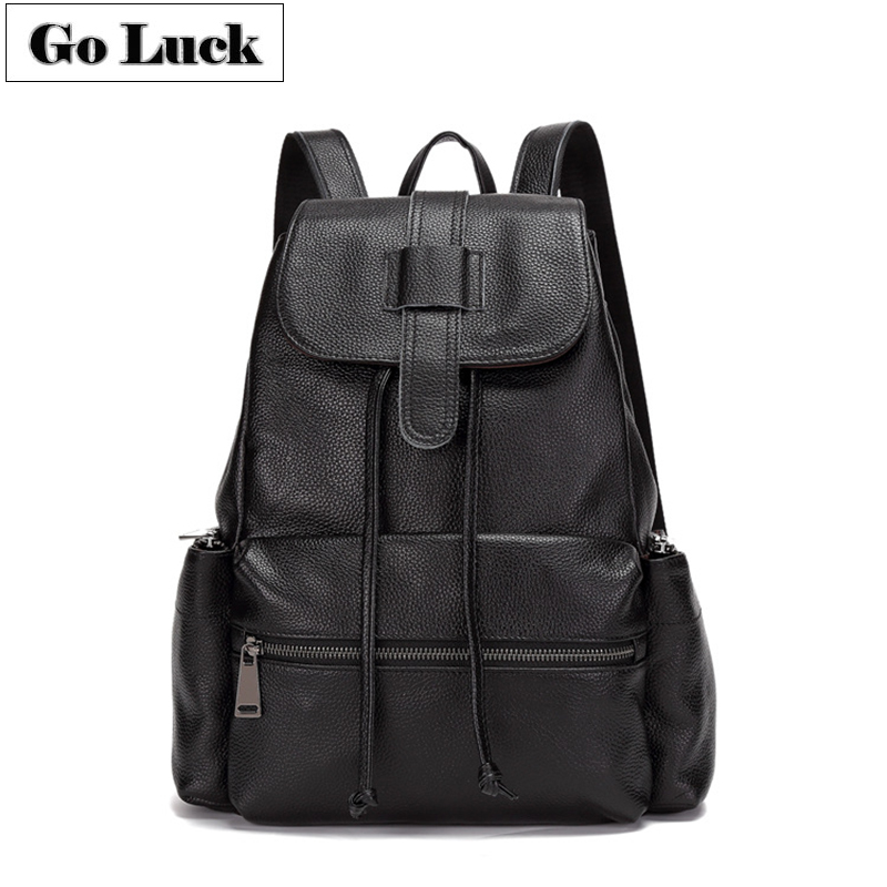 GO-LUCK Brand New Genuine Leather Casual Backpack Men&Women Travel Bag Women's Daily Backpacks School Bags