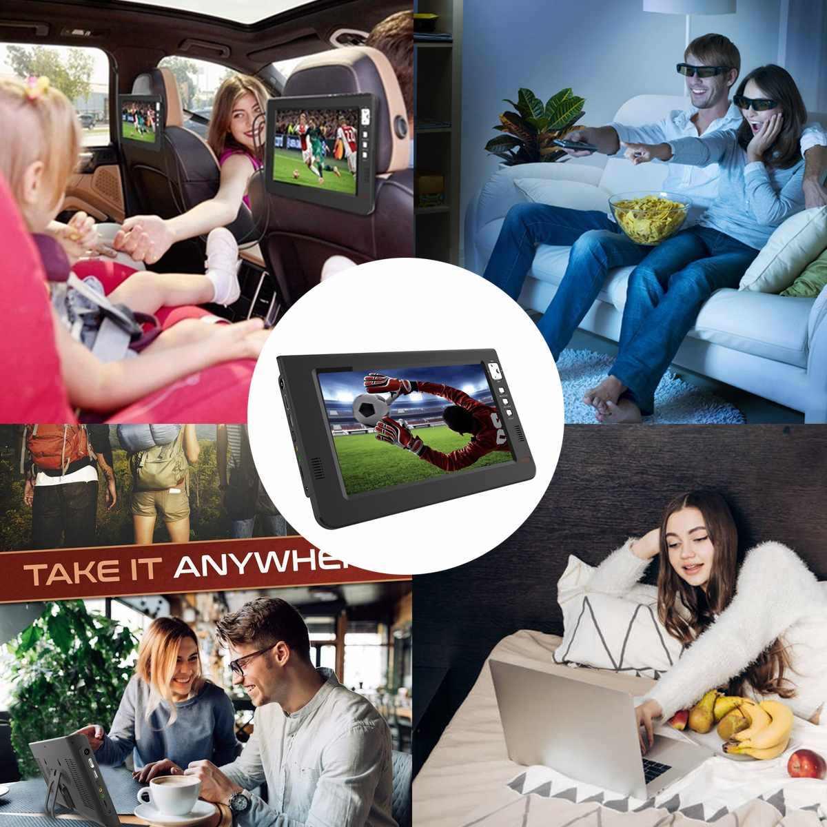 12V 18W 10.1 Inch Portable Analog Digital Mini TV Dvb-t/DVB-T2 TFT LED 1080P HD Mobil TV Mendukung TF Kartu USB Audio Uni Eropa Plug
