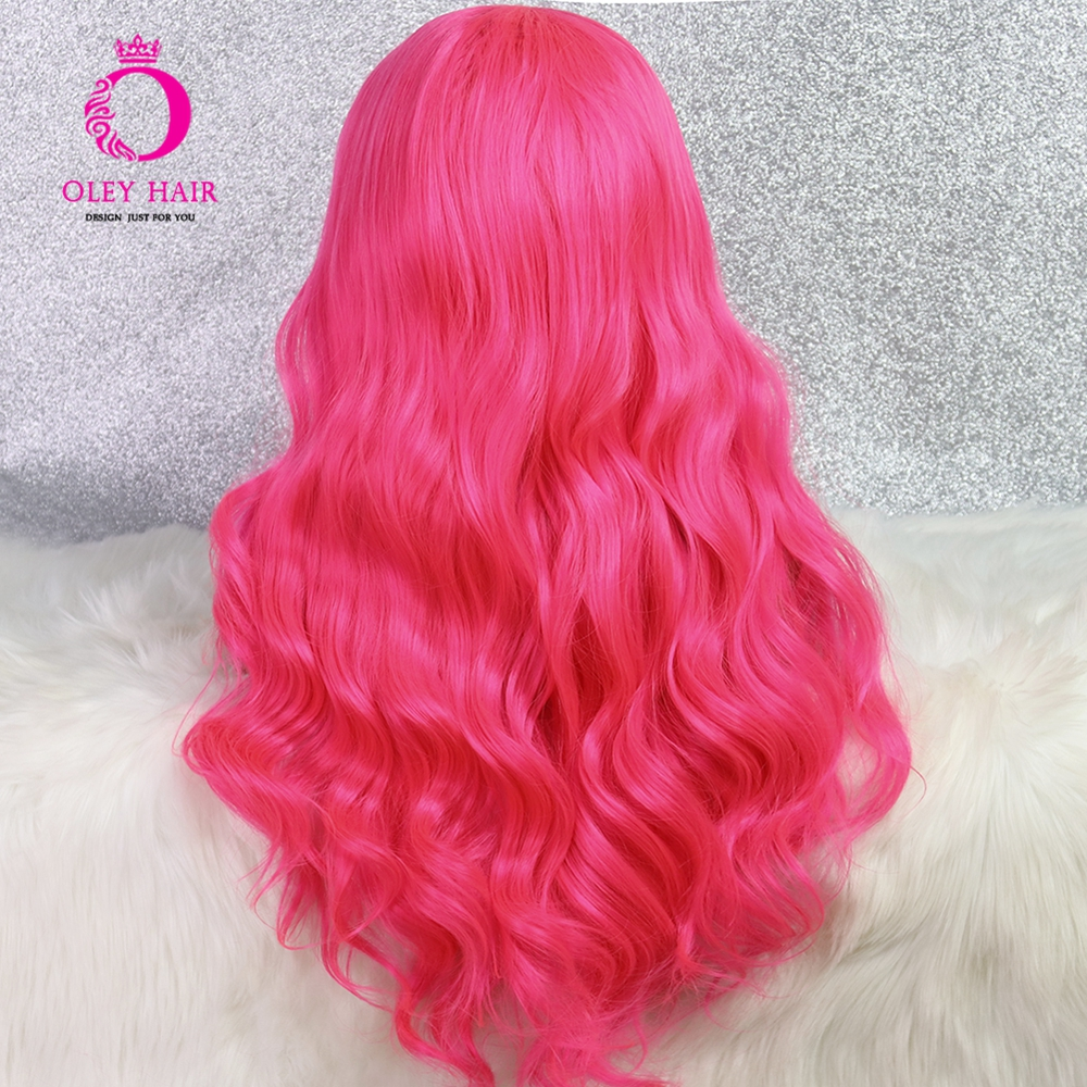 Quente rosa peruca sem cola peruca dianteira