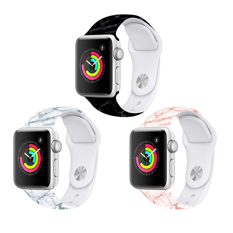 Apple Watch Series Soft Silicone Marble Pattern Sports Band 5 4 3 2 1 42mm 38mm 40mm 44mm IWatch Smart Wrist Adjustable Strap