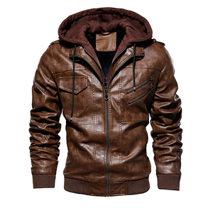 Image 2 - Hommes hiver chaud polaire vestes et manteaux automne hommes chapeau détachable en cuir vestes Outwear moto en cuir veste M 4XL
