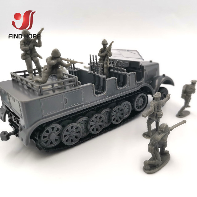 1:72 Sd.Kfz. 7 Half-Track Military Vehicle Plastic Assembly Model Armored Car +10Pcs Soldiers MODEL 5