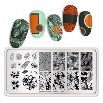 BORN PRETTY Rectangle Nail Stamping Plates Nail Art Image Stainless Steel Stencil Autumn Texture Theme DIY Plate Tools