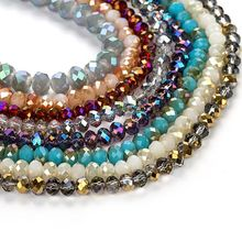 2/4/6/8mm Czech Crystal Beads for Jewelry Making Diy Needlework AB Color Spacer Faceted Glass  Wholesale Lots Bulk