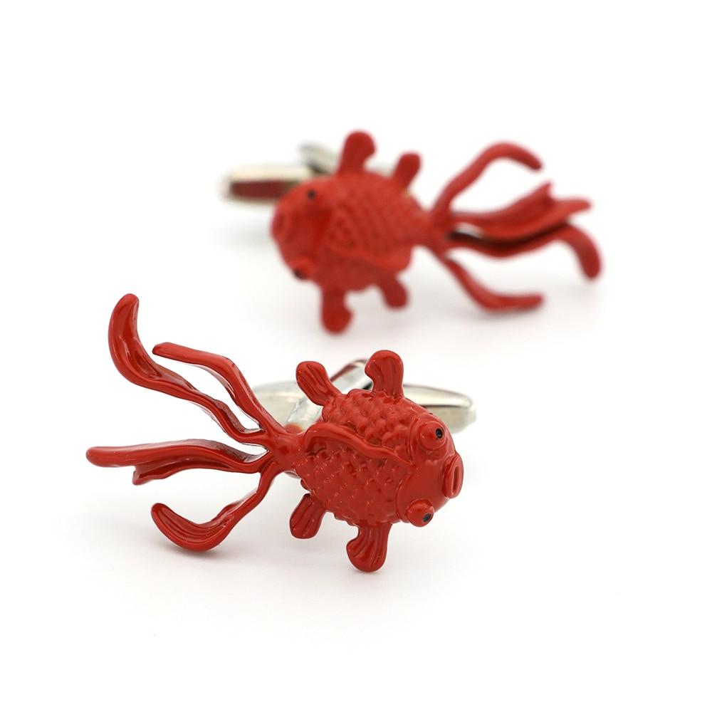 Goldfish Cuff Links For Men Cute Fish Design Quality Brass Material Orange Color Cufflinks Wholesale&retail