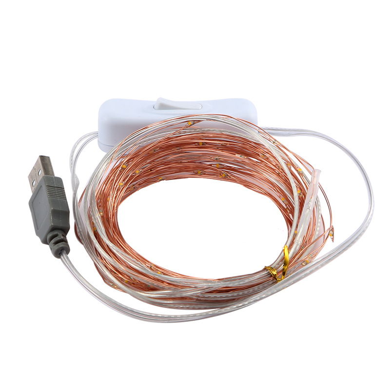 5 / 10m Copper Wire LED Light String USB With Switch Holiday Fairy Wedding Party Lights Bedroom Garden Decoration String Light