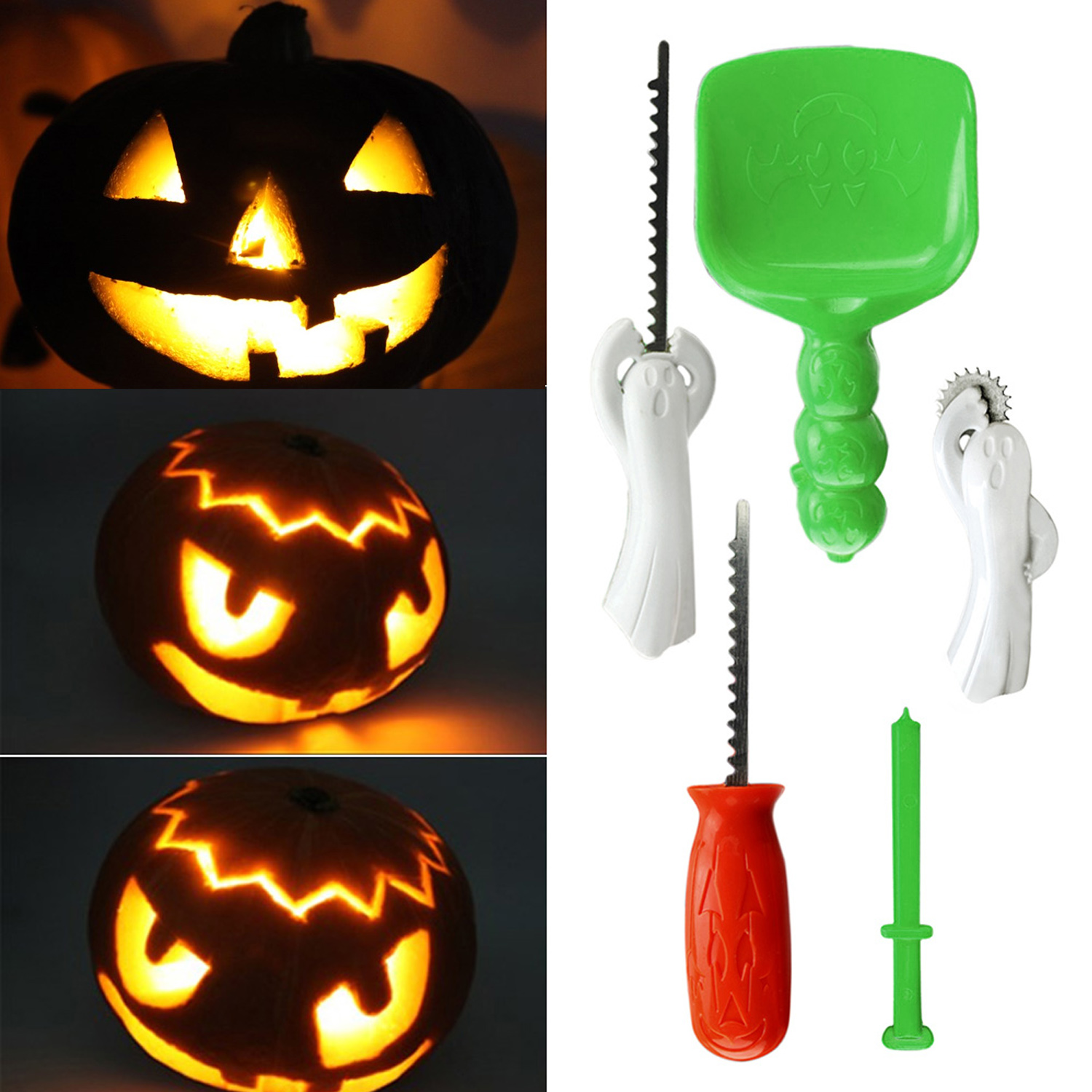 5pcs Halloween Pumpkin Craft Carving Tools Kit Includes Scoop Drill Stencil Wheel Carving Saws For Halloween Supplies