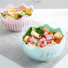3 in1 Творческий чаша для резки салата фрукты Мясорубка ножа для резки ломтиками Многофункциональный салат Maker Фруктовый Сок чайник тарелка и...