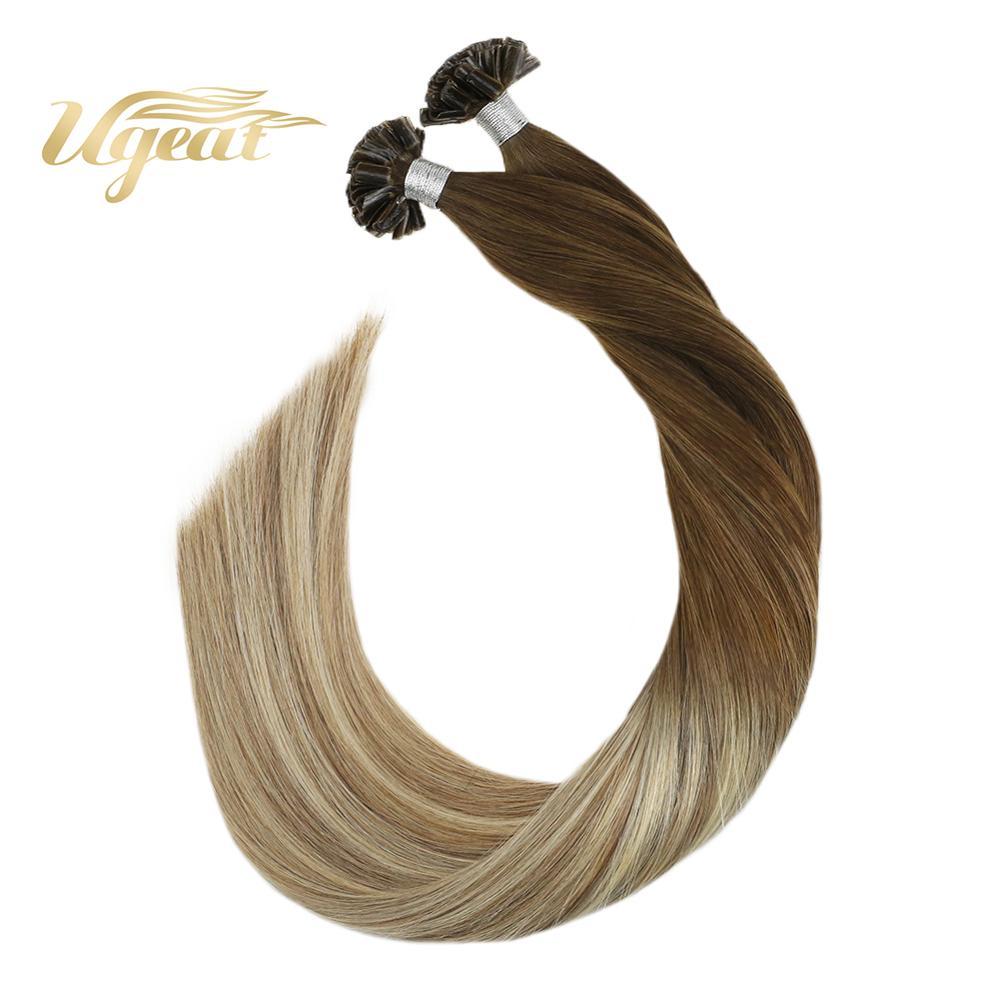 Ugeat U Tip Hair Extensions Human Hair Pre-Bonded Nail Tip Hair Extensioin 14-24