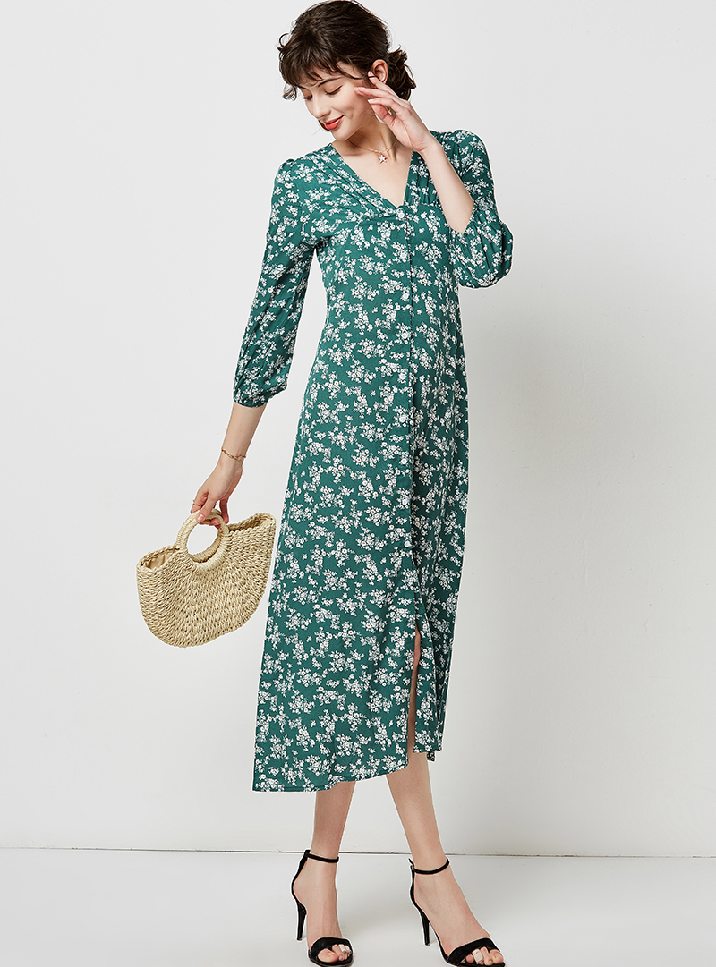 Autumn Elegant Floral Print Midi Dress Women 19 V Neck Button Casual Tunic Shirt Dress Lantern Sleeve Split Boho Long Dress 11