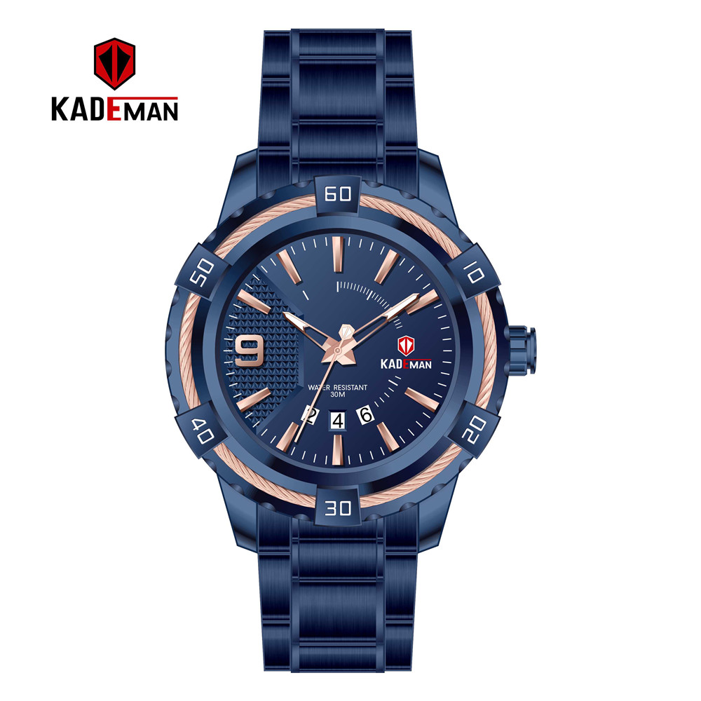 Image 5 - KD6173L Top Luxury Brand Kademan New Womens Business Watch Full Steel Strap Fashion Lady Quartz Calendar Wristwatch WaterproofWomens Watches   -