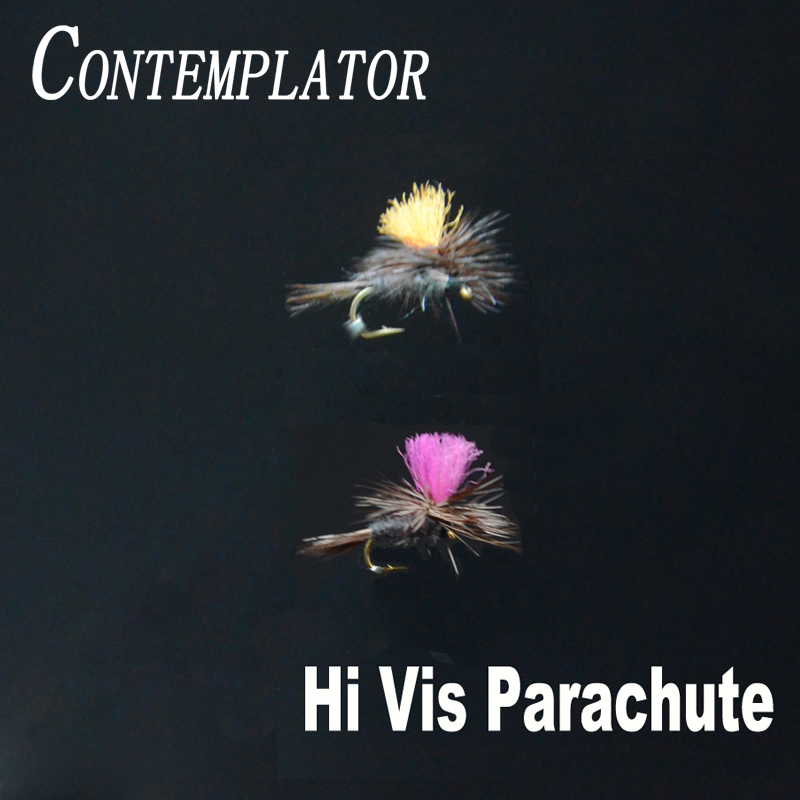 CONTEMPLATOR 6pcs 16# High-vision Parachute Adam midge dry files orange/pink antron chute surface water fly fishing insect lures