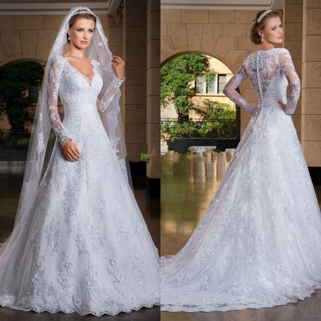 Custom Made 2018 New Princess Long Sleeve Lace Beading Bridal Gown Vestido De Noiva Free Shipping Mother Of The Bride Dresses
