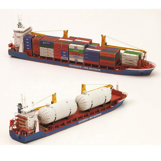1:400 Gdansk Cargo Ship DIY Handcraft 3D Paper Card Model Sets MYPANDA 4