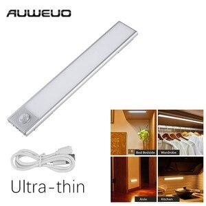 AUWEUO ультра-тонкий светильник для шкафа PIR датчик движения светодиодный светильник для шкафа USB Перезаряжаемый шкаф ночной Светильник