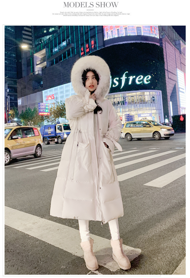 Down Jacket Women's Long Style Above The Knee 2019 Winter New Slim Collar White Duck Down Padded Coat