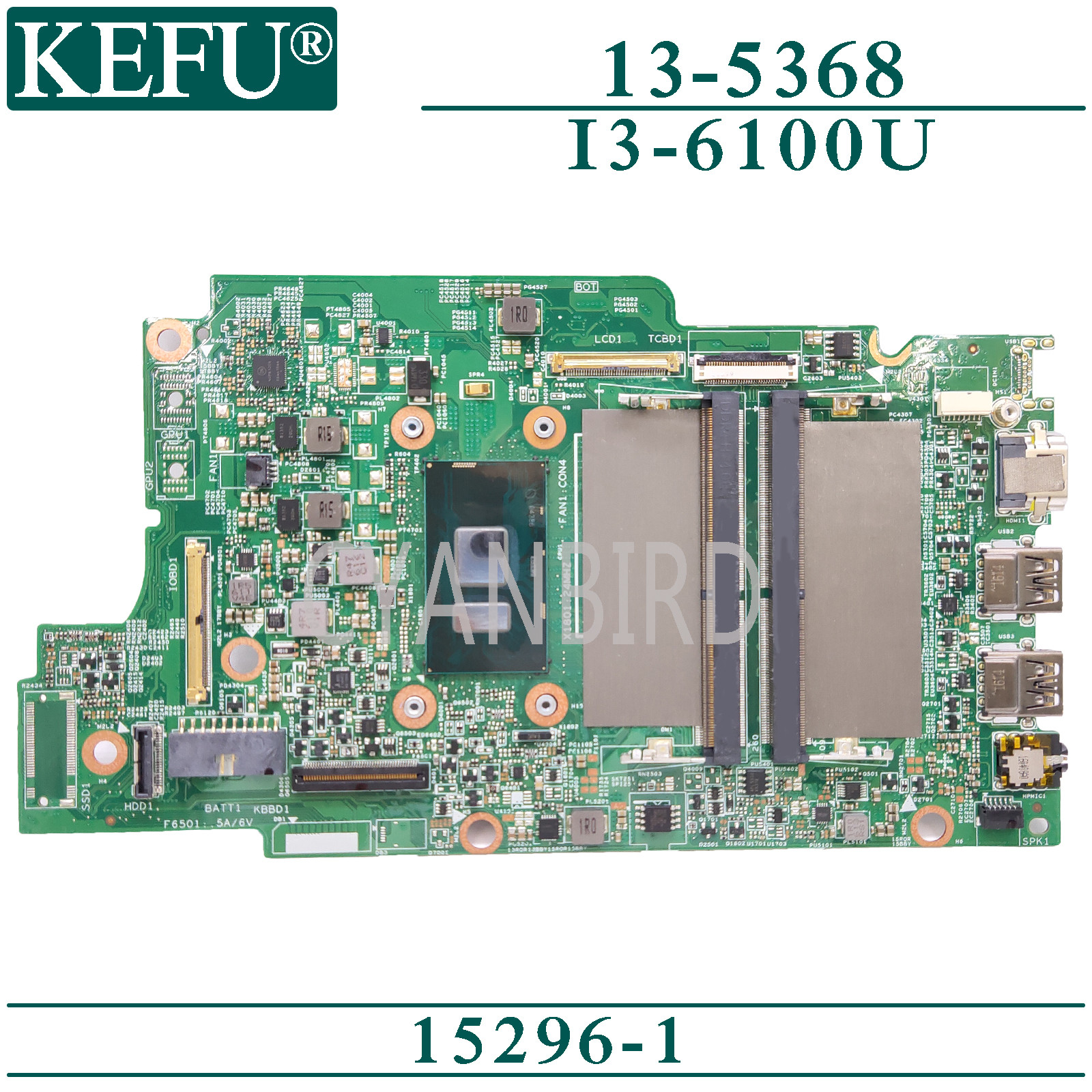 KEFU 15296-1 original mainboard for Dell Inspiron 13-5368 with I3-6100U Laptop motherboard