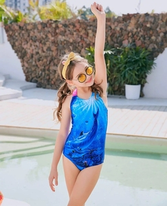 Swimsuit for girls Kids Girls One Piece Swimsuit Dolphins Pattern Crisscross Swimming Costume Bathing Suit for Age 4 to 14