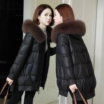 Women Leather Jacket 2020 New Winter Jackets Parkas Warm Coat Female Jacket Fur Collar Hooded Parka Cotton Padded Outwear 2020 parka winter women jacket fur collar hooded winter warm thick short parka winter coat outwear jacket