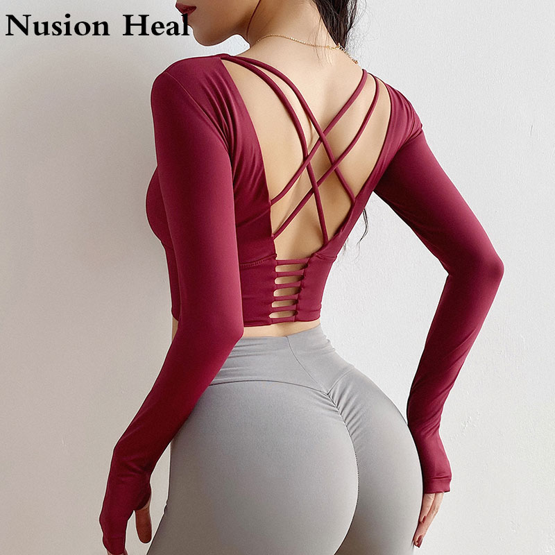 Women Yoga Top Sport Long Sleeve Yoga Shirt With Thumb Holes Solid Quick Dry Breathable Gym Fitness Yoga Shirt Crop Top Workout