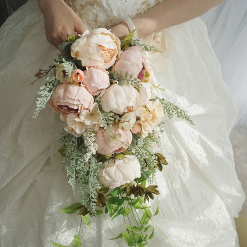 Waterfall Style Rustic Artificial Peony Bridal Bouquet Fake Plants Cascading Holding Flower With Faux Pearls Wedding Party Props